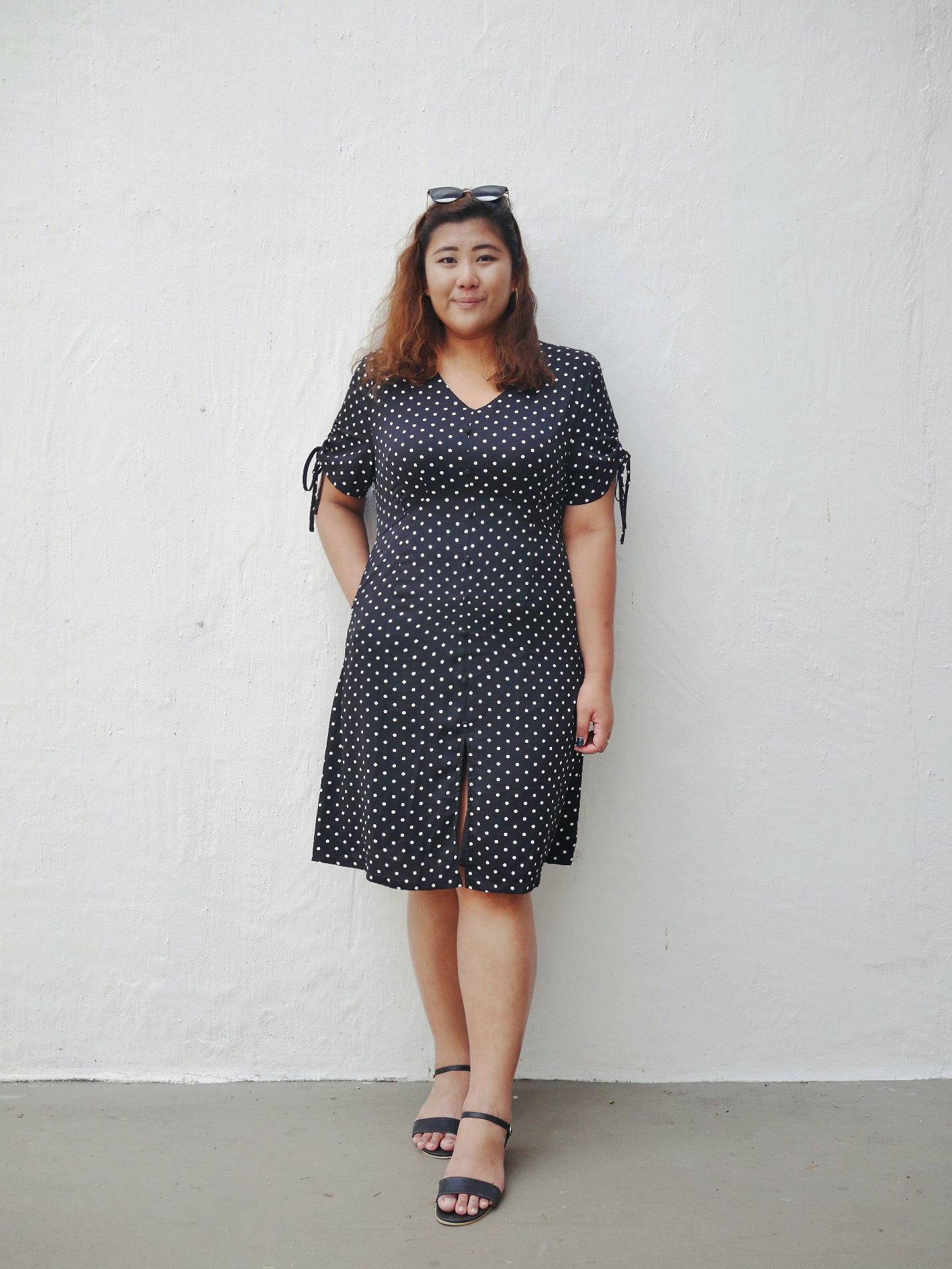 Plus Size Empire Cut Midi Dress in Polka Dot Print