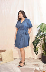 Load image into Gallery viewer, Plus Size Oversized Tshirt Dress Blue
