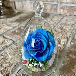 "Eternal Roses in Glass Dome - blue - 3""x5.5""/ M"