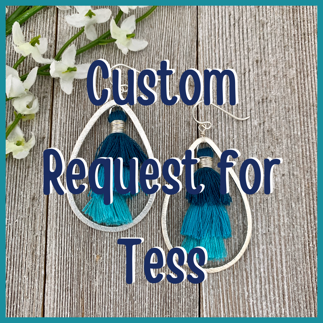 Teal Ombre Tassel Earrings for Tess, Brushed Silver Teardrop, Silver Filled Ear Wires