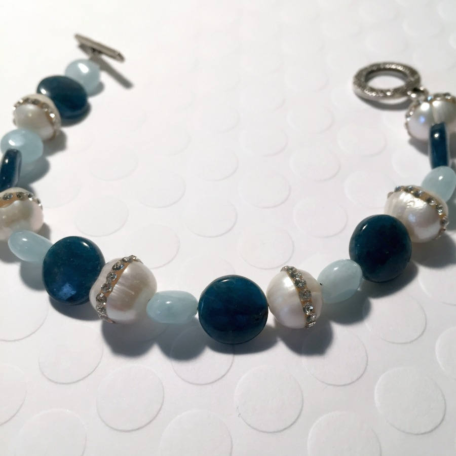 Apatite, Aquamarine, and Freshwater Pearls with Rhinestones