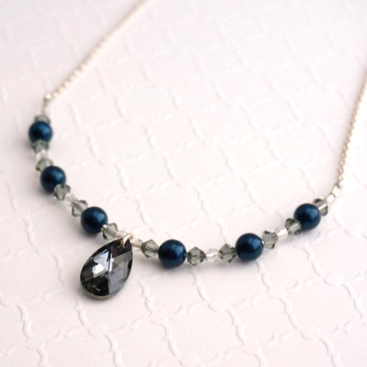 Swarovski Graphite Crystal and Petrol Pearl Necklace
