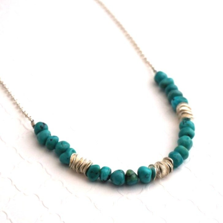 Turquoise Pebble Necklace with Pringle Spacers