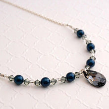 Load image into Gallery viewer, Swarovski Graphite Crystal and Petrol Pearl Necklace