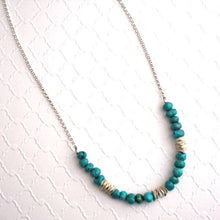 Load image into Gallery viewer, Turquoise Pebble Necklace with Pringle Spacers