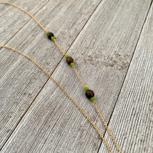 Load image into Gallery viewer, Wood and Green Long Necklace on Gold Chain