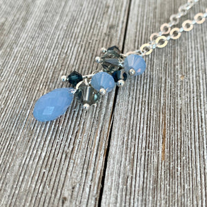 Swarovski Crystal Cluster Necklace / Air Blue Opal / Black Diamond / Montana Blue