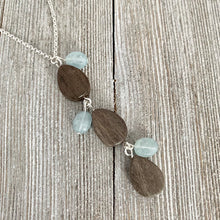 Load image into Gallery viewer, Long Chain Necklace / Grey Teardrop Wood Beads / Aquamarine Oval Beads