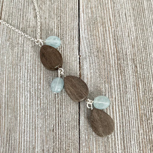 Long Chain Necklace / Grey Teardrop Wood Beads / Aquamarine Oval Beads