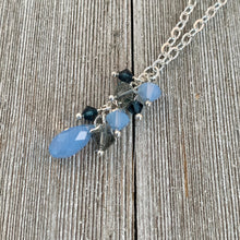 Load image into Gallery viewer, Swarovski Crystal Cluster Necklace / Air Blue Opal / Black Diamond / Montana Blue