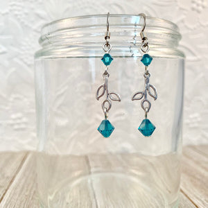 Leaf Drop Earrings with Indicolite Swarovski Crystals