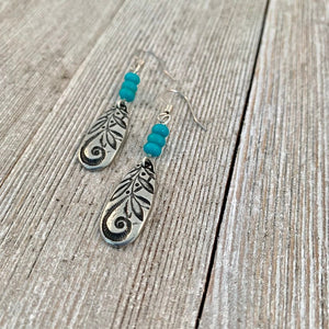 Swirled Teardrop Earrings with Natural Turquoise Beads