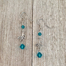 Load image into Gallery viewer, Leaf Drop Earrings with Indicolite Swarovski Crystals