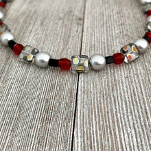 Load image into Gallery viewer, DIY Bracelet Kit with Instructions / Red / Metallic Polka Dot / Grey / Black / DIY Craft Kit