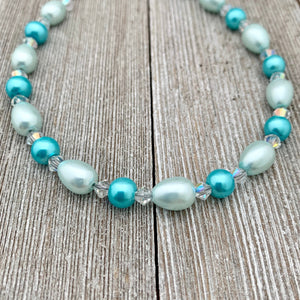DIY Bracelet Kit with Instructions, Aqua Glass Beads, DIY Craft Kit, For Adults, Jewelry Making