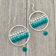 Load image into Gallery viewer, Teal Ombre Earrings / Teal Quartz / Peruvian Amazonite / Swarovski Crystals / Swarovski Pearls