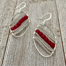 Load image into Gallery viewer, Red Quartz / Grey Seed Bead / Wire Wrapped Oval Earrings
