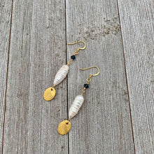 Load image into Gallery viewer, Brushed Gold Oval / White Biwa Pearl / Montana Blue Swarovski Crystal Earrings