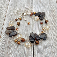 Load image into Gallery viewer, Smoky Quartz, Copper Freshwater Pearls, Swarovski Crystals, Wire Wrapped Bracelet, Sterling Silver
