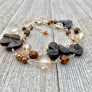 Smoky Quartz, Copper Freshwater Pearls, Swarovski Crystals, Wire Wrapped Bracelet, Sterling Silver