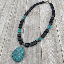 Load image into Gallery viewer, Square Onyx, Faceted Turquoise Rectangles, and Turquoise Pendant Necklace