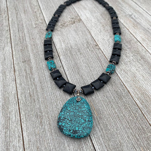 Square Onyx, Faceted Turquoise Rectangles, and Turquoise Pendant Necklace