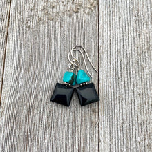 Load image into Gallery viewer, Black Onyx and Natural Turquoise Nugget Sterling Silver Earrings