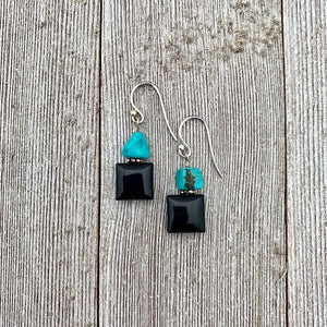 Black Onyx and Natural Turquoise Nugget Sterling Silver Earrings