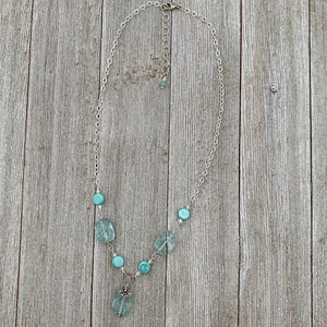 Aqua and Turquoise Glass and Chain Necklace