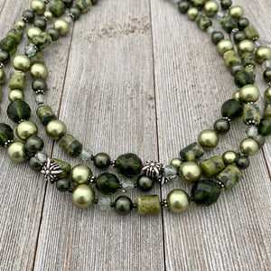 Shades of Green Multi-Strand Necklace