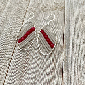 Red Quartz / Grey Seed Bead / Wire Wrapped Oval Earrings