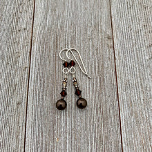 Load image into Gallery viewer, Deep Brown Swarovski Pearl and Mocca Swarovski Crystal Sterling Silver Earrings