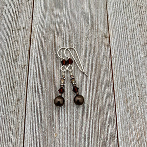 Deep Brown Swarovski Pearl and Mocca Swarovski Crystal Sterling Silver Earrings