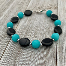Load image into Gallery viewer, Black and Teal Bracelet
