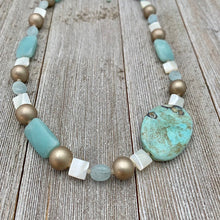Load image into Gallery viewer, Terra Agate / Mother of Pearl / Amazonite / Aquamarine / Metallic Wood Necklace