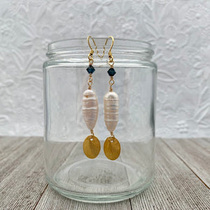 Brushed Gold Oval / White Biwa Pearl / Montana Blue Swarovski Crystal Earrings