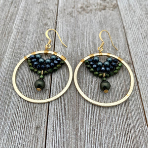 Swarovski Pearl / Green Iris Czech Glass / Navy Crystal / Gold Hoop Earrings