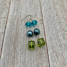 Load image into Gallery viewer, Olivine / Tahitian / Indicolite Swarovski Crystals and Pearl Earrings