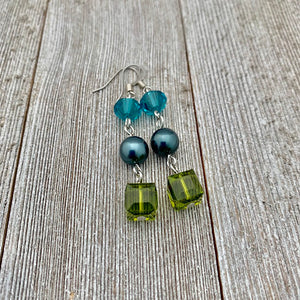 Olivine / Tahitian / Indicolite Swarovski Crystals and Pearl Earrings