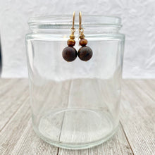 Load image into Gallery viewer, Bronzite, Copper Freshwater Pearl, and Gold Spacer 14K Gold-Filled Dangle Earrings