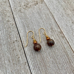 Bronzite, Copper Freshwater Pearl, and Gold Spacer 14K Gold-Filled Dangle Earrings