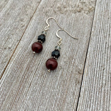Load image into Gallery viewer, Bordeaux Swarovski Pearl, Jet and Black Diamond Swarovski Crystal Earrings