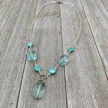 Load image into Gallery viewer, Aqua and Turquoise Glass and Chain Necklace