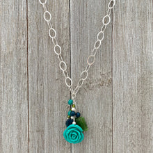 Load image into Gallery viewer, Lucite Turquoise Rose Cluster Necklace