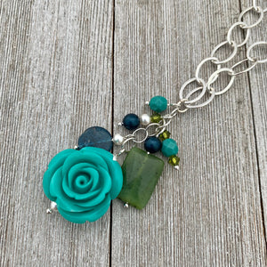 Lucite Turquoise Rose Cluster Necklace