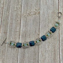 Load image into Gallery viewer, Apatite, Swarovski Crystal, and Sterling Silver Bracelet