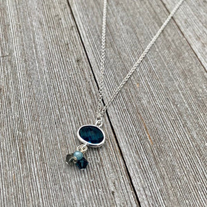 Montana Blue Charm / Crystal Dangles / Double Rolo Chain / Charm Necklace