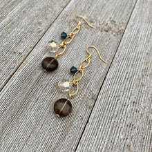 Load image into Gallery viewer, Smoky Quartz / Silver Shade / Montana / Swarovski Crystals / Matte Gold / Chain Earrings