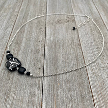Load image into Gallery viewer, Black and Silver Necklace / Onyx / Czech Glass