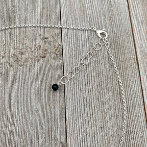 Black and Silver Necklace / Onyx / Czech Glass